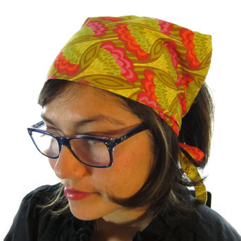 Head Scarf. Made with Anna Maria Horner Hand Drawn Garden Party fabric. Has  ties as the closure for an adjustable fit. 5e9340f4455
