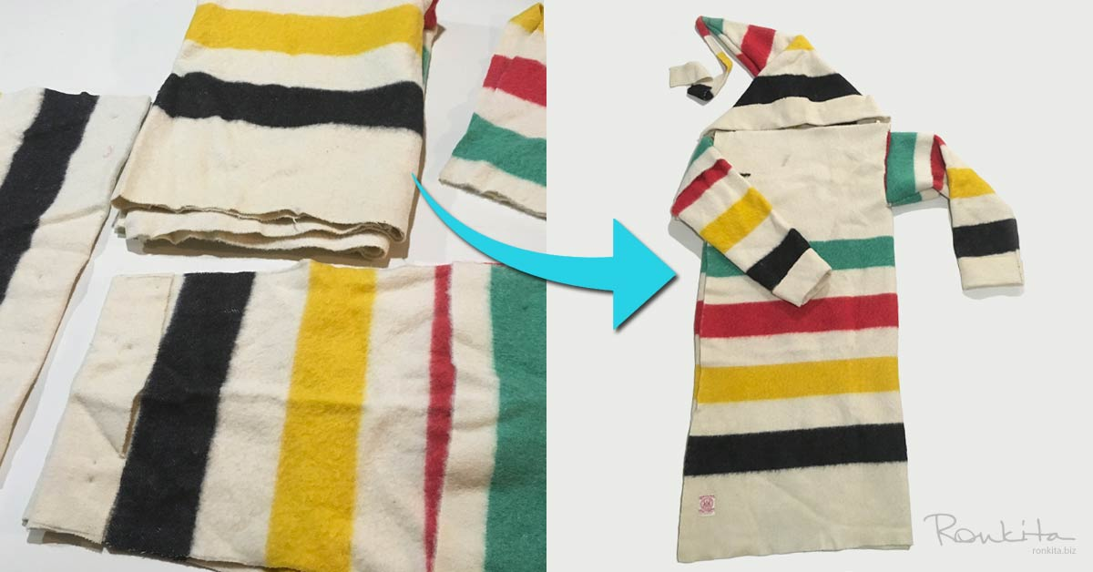 Capote Made From Hudson's Bay Point Blanket